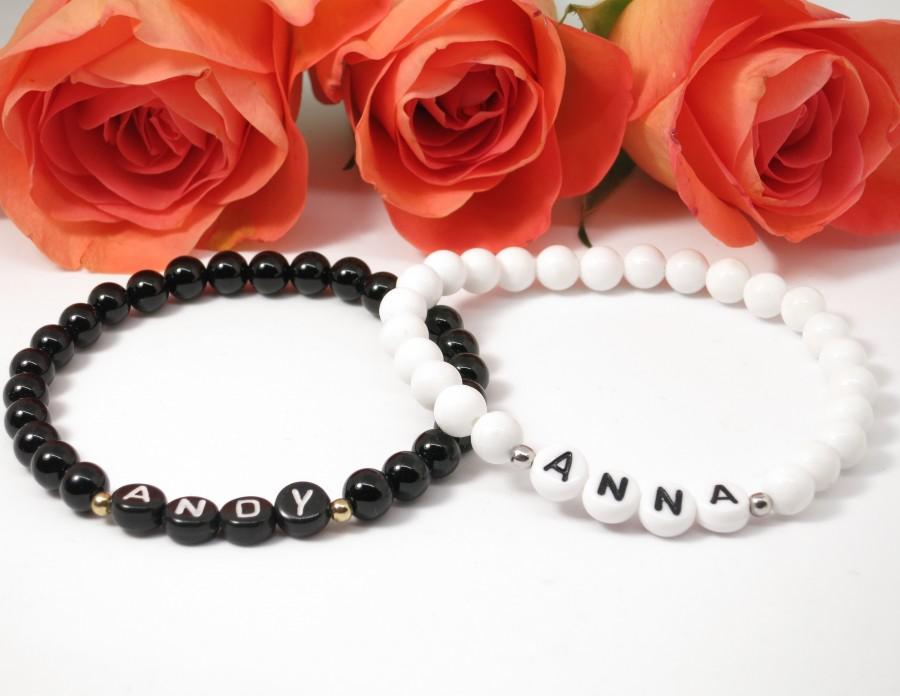 wunderschöne Partnerarmbänder in schwarz und weiß